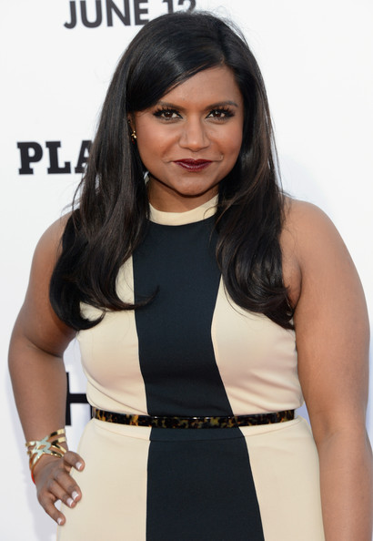 Mindy Kaling Printed Belt [this is the end,hair,clothing,hairstyle,little black dress,dress,black hair,cocktail dress,long hair,fashion accessory,neck,arrivals,mindy kaling,california,westwood,regency village theatre,columbia pictures,premiere]