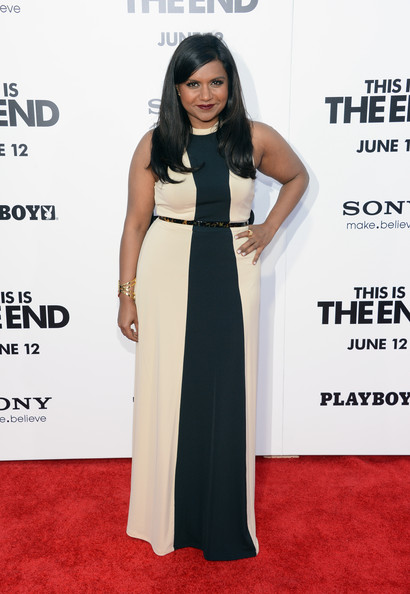 Mindy Kaling Maxi Dress [this is the end,flooring,dress,carpet,fashion model,shoulder,gown,fashion,formal wear,cocktail dress,red carpet,arrivals,mindy kaling,california,westwood,regency village theatre,columbia pictures,premiere]