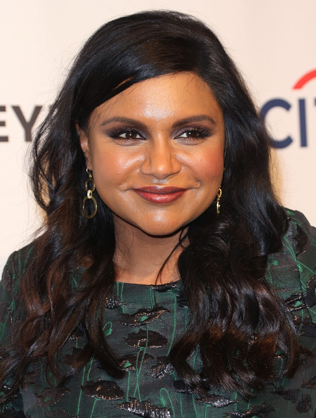 Mindy Kaling Gold Hoops [the mindy project,paleyfest 2014 honoring the mindy project,hair,hairstyle,face,eyebrow,black hair,long hair,forehead,chin,lip,layered hair,mindy kaling,dolby theatre,california,hollywood,paley center for media,executive producer,paleyfest 2014]