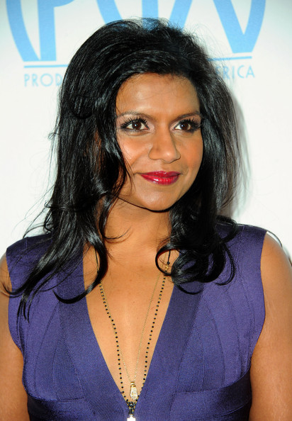 Mindy Kaling Red Lipstick [hair,face,hairstyle,black hair,eyebrow,lip,chin,long hair,forehead,electric blue,arrivals,mindy kaling,the beverly hilton,hotel,beverly hills,california,annual producers guild awards]