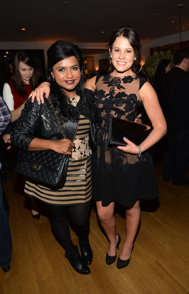 Mindy Kaling Leather Jacket [fashion,event,little black dress,dress,fashion design,textile,fashion accessory,tights,mindy kaling,sosie bacon,miss golden globe,west hollywood,hfpa,instyle,hollywood foreign press association instyle celebrate the 2014 golden globe awards season,celebration,fig olive,season]