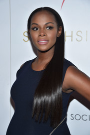Tika Sumpter wore her long hair sleek straight and swept to the side during the screening of 'Southside with You.'