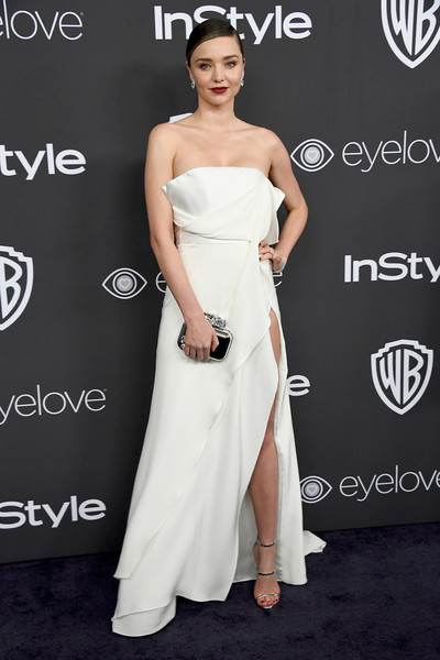 Miranda Kerr Strappy Sandals [gown,flooring,fashion model,shoulder,dress,joint,cocktail dress,carpet,formal wear,fashion,arrivals,miranda kerr,beverly hills,california,the beverly hilton hotel,warner bros. pictures,instyle host,post-golden globes party]