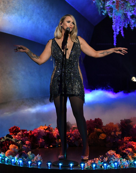 Miranda Lambert Beaded Dress [image,musical,microphone,light,blue,purple,music artist,entertainment,lighting,music,performing arts,thigh,telecast,performance,light,microphone,los angeles,california,annual grammy awards,event,musical theatre,performance art,theatre,musician,fashion,event,performance m,musical,performance]