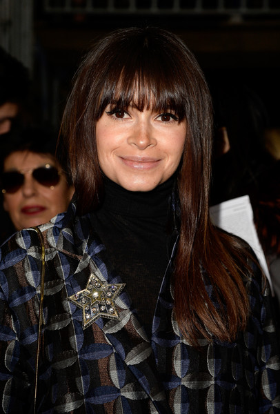 Miroslava Duma Diamond Brooch [show,hair,hairstyle,eyewear,bangs,face,layered hair,black hair,long hair,fashion,brown hair,miroslava duma,front row,part,paris,france,lanvin,paris fashion week womenswear fall]