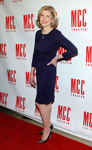 Christine Baranski looked classy and polished in a purple cocktail dress while on the carpet for Miscast 2013.