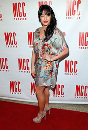 Courtney Reed looked hippie-chic with a satin print cocktail dress at Miscast 2013.