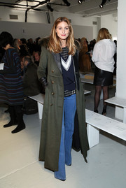 Olivia Palermo was tough-glam in a Kymerah military coat during the Misha Nonoo fashion show.