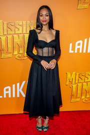 Zoe Saldana went flirty in a sheer-panel black corset dress by Rosie Assoulin at the New York premiere of 'Missing Link.'