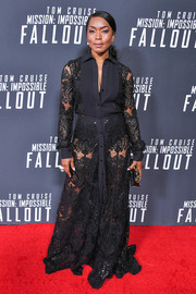 Angela Bassett looked ravishing in a sheer maxi shirtdress by Mario Dice at the US premiere of 'Mission: Impossible — Fallout.'