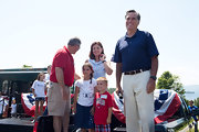 Mitt Romney attended the Wolfeboro Independence Day parade looking relaxed in a blue polo shirt and white slacks.
