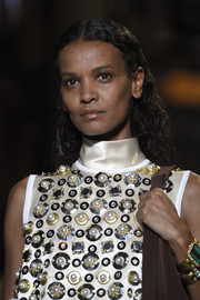 Liya Kebede sported a center-parted curly 'do at the Miu Miu Cruise 2019 show.