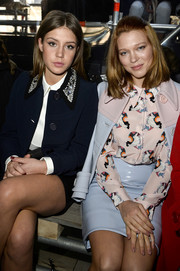 Lea Seydoux wore a lovely print blouse to the Miu Miu runway show.