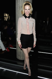 January Jones looked totally retro-chic with this soft pink button down with classic black collar.
