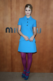 Dianna Agron went totally mod in this sky blue collared shift dress at the Miu Miu show in Paris.