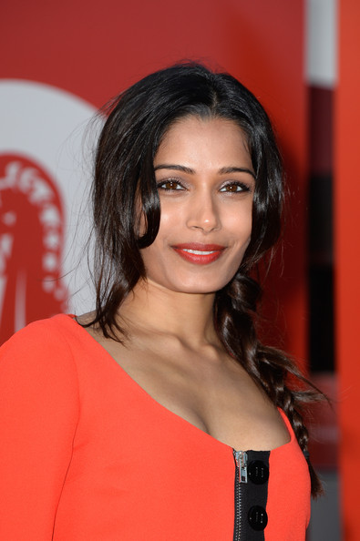 More Pics of Freida Pinto Long Braided Hairstyle (4 of 21) - Long Braided Hairstyle Lookbook - StyleBistro