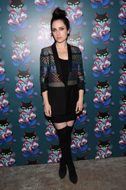 Zoe Lister Jones layered a multi-patterned blazer over a little black dress for the 'Spark & Light' screening.