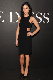 Leigh Lezark brought a bondage vibe to the 'De Djess' screening with this cutout LBD.
