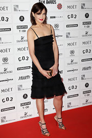 Elizabeth McGovern wore strappy sandals with her LBD for a totally sexy look.