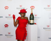 Mary J. Blige went all red at the Kentucky Derby in this dress and matching hat.