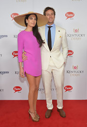 Elizabeth Chambers showed off her slim legs in a super-short pink dress at the Kentucky Derby Moet & Chandon toast.