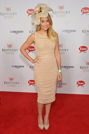 Lauren Conrad showed off her svelte physique in a sleeveless nude polka-dot sheath at the Kentucky Derby Moet & Chandon toast.