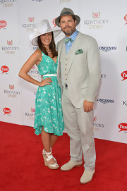Mercedes Masohn looked summer-chic in a turquoise print dress at the Kentucky Derby Moet & Chandon toast.