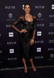 Alessandra Ambrosio looked mesmerizing in a figure-hugging beaded LBD during the Harper's Bazaar Icons event.