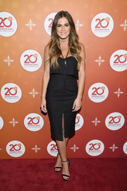 JoJo Fletcher looked alluring in a sweetheart-neckline LBD with a layered bodice and a front slit during Mohegan Sun's 20th anniversary party.