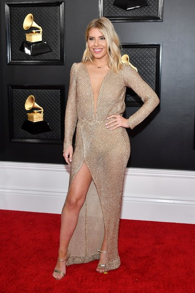 Mollie King Strappy Sandals [red carpet,carpet,clothing,dress,flooring,shoulder,cocktail dress,fashion,leg,blond,arrivals,mollie king,staples center,los angeles,california,annual grammy awards,zuleyka rivera,stock photography,photography,red carpet,puerto rico,shutterstock,model,image]