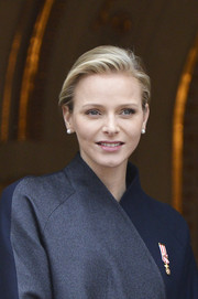 Charlene Wittstock was fresh-faced with her short side-parted 'do at the National Day Parade.