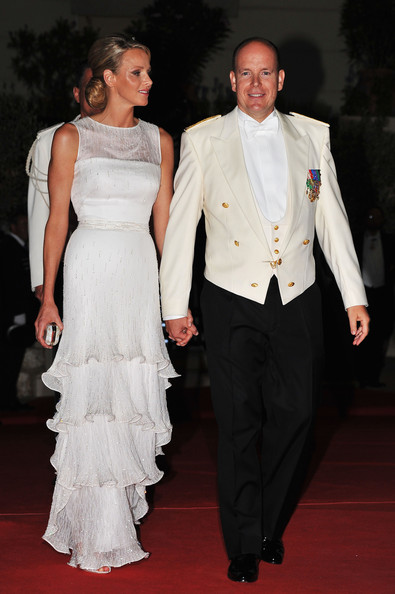 Princess Charlene of Monaco wore a tiered white dress after her wedding ceremony.