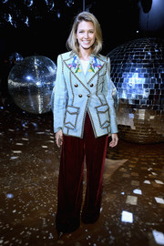 Helena Bordon kept it fun yet stylish in a studded and embroidered denim blazer by Gucci at the Moncler Gamme Rouge Spring 2018 show.