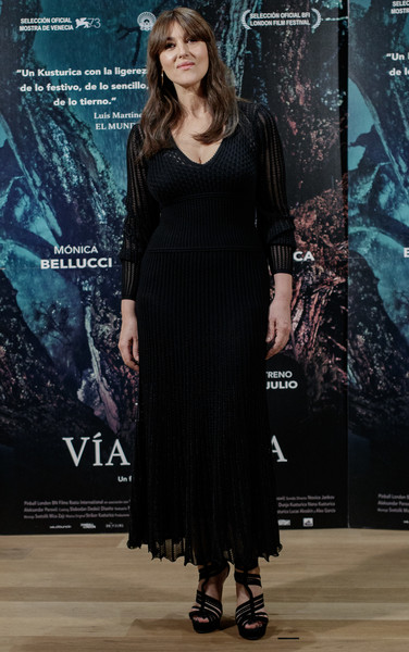 Monica Bellucci Platform Sandals [on the milky road,madrid photocall,clothing,dress,fashion,fashion model,little black dress,cocktail dress,fashion design,event,long hair,haute couture,monica bellucci,urso,photocall,milky road,madrid,hotel,spain]