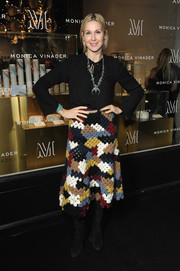 Kelly Rutherford dressed up her look with a multicolored crochet skirt.
