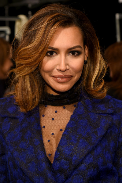 Naya Rivera styled her hair into a glamorous bouffant for the Monique Lhuillier fashion show.