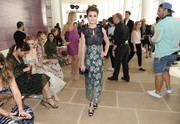 Sami Gayle kept it demure in a two-tone lace dress at the Monique Lhuillier fashion show.