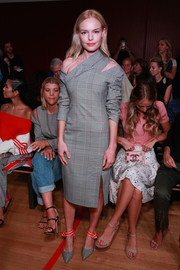 A pair of glen plaid pumps with striped ankle straps completed Kate Bosworth's matchy-matchy look.