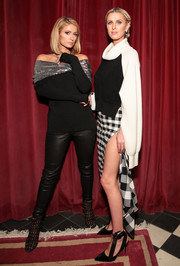 Nicky Hilton covered up in a black-and-white turtleneck for the Monse launch party.