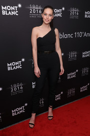 Emily DiDonato went ultra modern in a black one-shoulder jumpsuit for the Montblanc 110th anniversary dinner.