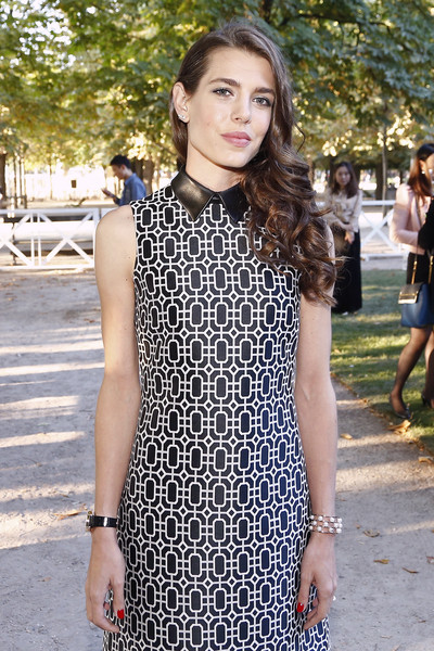 Charlotte Casiraghi paired a pearl bracelet with a black-and-white print dress for the Montblanc Boheme event.
