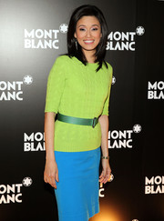 Betty Liu was bold with colors during the Montblanc Madison Avenue opening, pairing a lime-green knit top with a bright blue skirt.