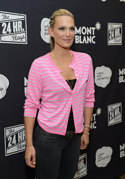 Molly Sims opted for a casual look with a pink and gray striped cardigan and jeans when she attended Montblanc's 24 Hour Plays.