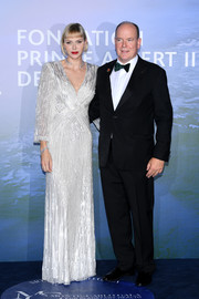 Charlene Wittstock looked radiant in a fully beaded silver gown by Jenny Packham at the Monte-Carlo Gala for Planetary Health.