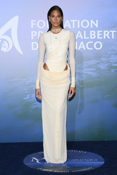 Cindy Bruna went the modern, sexy route in a draped beige cutout gown by Y/Project at the Monte-Carlo Gala for Planetary Health.