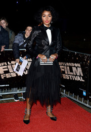 Janelle Monae sported a shiny black tux jacket and a matching bow tie at the BFI London Film Festival screening of 'Moonlight.'