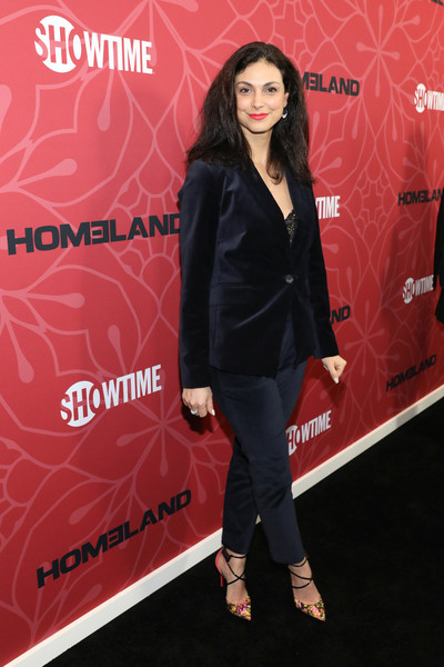 Morena Baccarin Pumps [season,homeland,clothing,red,footwear,fashion,leather,outerwear,premiere,carpet,jacket,shoe,morena baccarin,new york city,museum of modern art,premiere]
