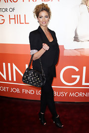 Chantelle paired a cuffed blazer and leggings with on trend black cutout boots.