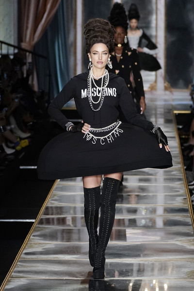A pair of thigh-high lace-up boots sealed off Irina Shayk's attire.