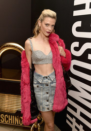 Jaime King rocked a rhinestone-covered bustier by Moschino x H&M during the brand's Los Angeles launch event.